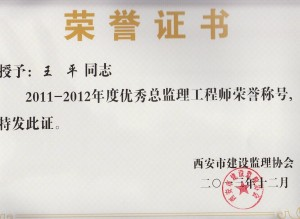 王平荣誉证书